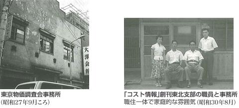 東京物価調査会事務所と「コスト情報」創刊東北支部の職員と事務所